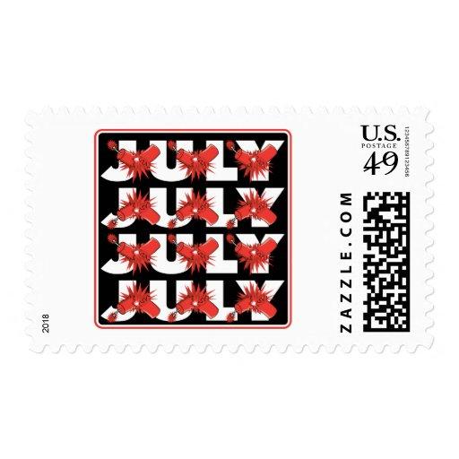 July Fireworks Postage Stamps