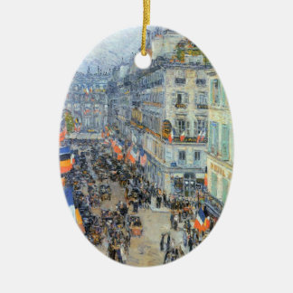 July Fourteenth, Rue Daunou by Childe Hassam Ceramic Ornament