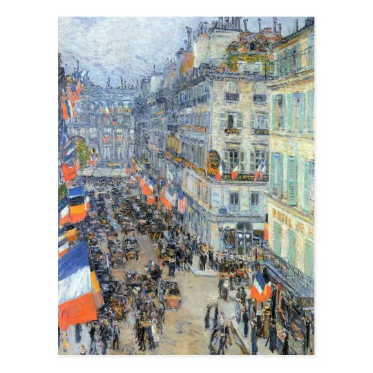 July Fourteenth, Rue Daunou by Childe Hassam Postcard
