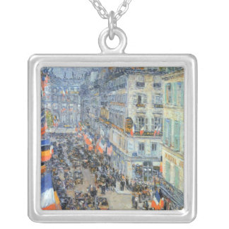July Fourteenth, Rue Daunou by Childe Hassam Silver Plated Necklace