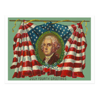 July Fourth Greetings - Washington Postcard