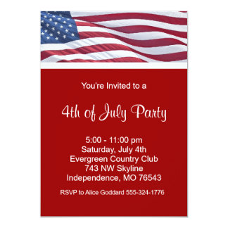 """July Fourth or Election Campaign Party Invitations 5"""" X 7"""" Invitation Card"""