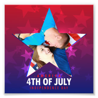 July fourth star shaped red blue Photo frame