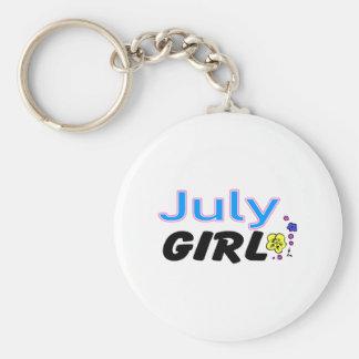 July Girl Basic Round Button Keychain