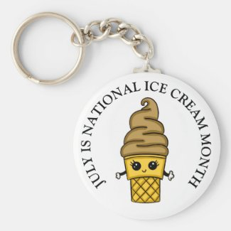 July is National Ice Cream Month Button Keychain
