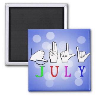 JULY NAME FINGERSPELLED ASL SIGN 2 INCH SQUARE MAGNET