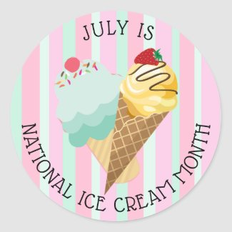 July National Ice Cream Month Stickers