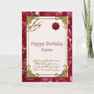 July Ruby Birthstone Birthday Card