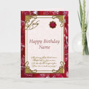 July Ruby Birthstone Birthday Card
