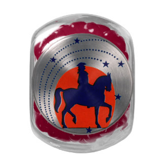 July the 4th horse patriotic Independence Day Jelly Belly Candy Jar