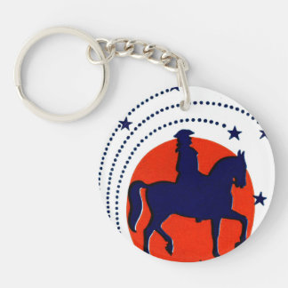July the 4th horse patriotic Independence Day Double-Sided Round Acrylic Keychain