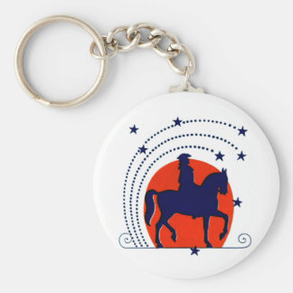 July the 4th horse patriotic Independence Day Basic Round Button Keychain