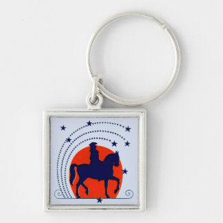 July the 4th horse patriotic Independence Day Silver-Colored Square Keychain