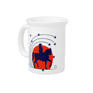July the 4th horse patriotic Independence Day Pitcher