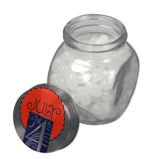 July the 4th mod retro patriotic Independence Day Glass Candy Jars