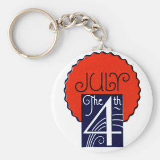 July the 4th mod retro patriotic Independence Day Basic Round Button Keychain