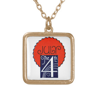 July the 4th mod retro patriotic Independence Day Square Pendant Necklace