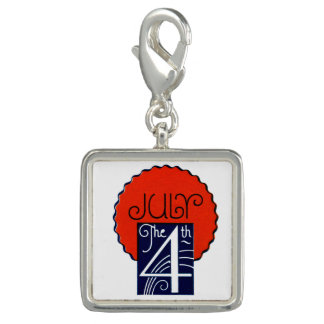 July the 4th mod retro patriotic Independence Day Photo Charms