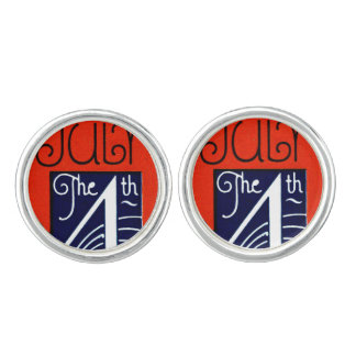 July the 4th mod retro patriotic Independence Day Cufflinks
