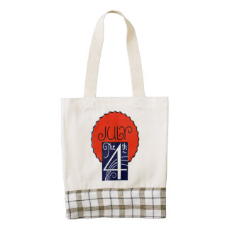 July the 4th mod retro patriotic Independence Day Zazzle HEART Tote Bag