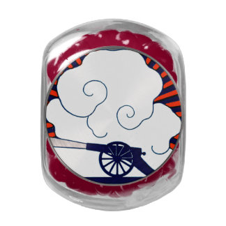 July the 4th vintage cannon artillery patriotic glass jar