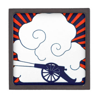 July the 4th vintage cannon artillery patriotic keepsake box