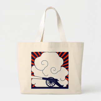 July the 4th vintage cannon artillery patriotic large tote bag