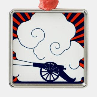 July the 4th vintage cannon artillery patriotic metal ornament