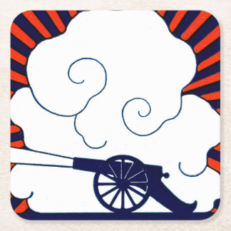 July the 4th vintage cannon artillery patriotic square paper coaster