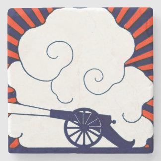 July the 4th vintage cannon artillery patriotic stone coaster