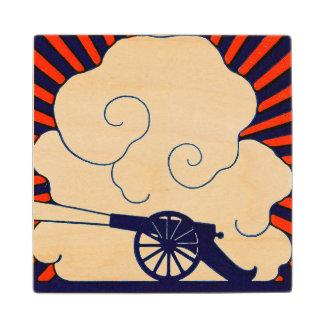 July the 4th vintage cannon artillery patriotic wooden coaster