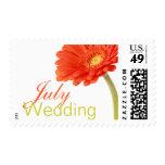 July Wedding Invitation Stamps | Gerbera Postage