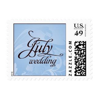 July Wedding Winter Blue Flourish Postage