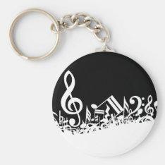 Jumble Of Musical Symbols Keychain at Zazzle
