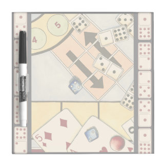 Jumbled Assortment of Games of Chance Dry Erase Whiteboard