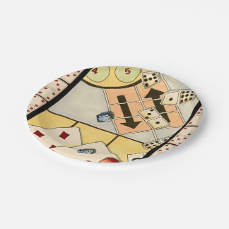 Jumbled Assortment of Games of Chance Paper Plate