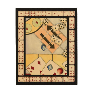 Jumbled Assortment of Games of Chance Wood Wall Art