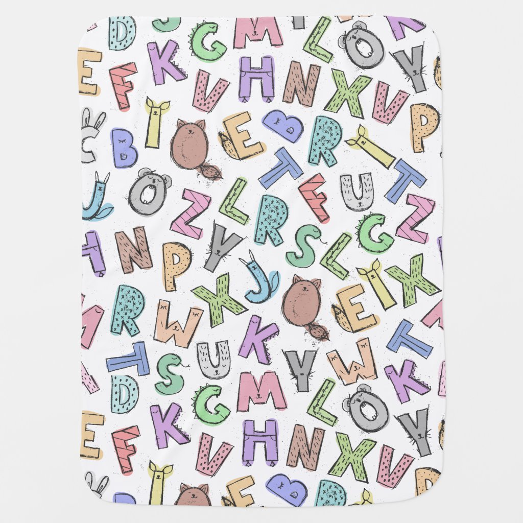 Jumbled Letters and Numbers Receiving Blanket