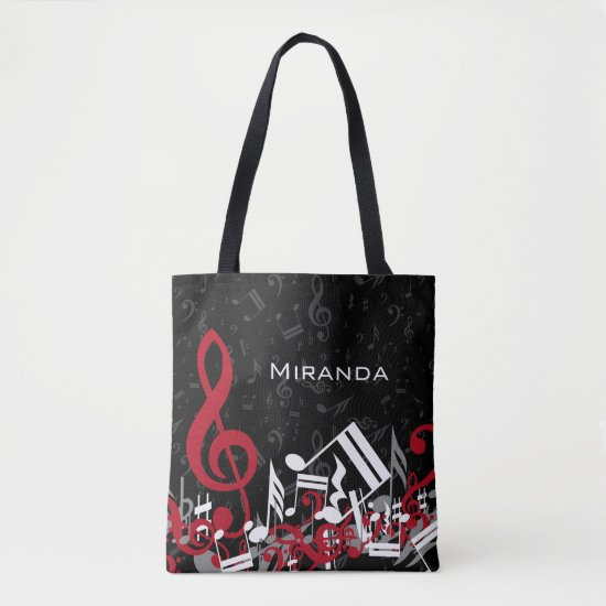 Jumbled Music Notes Red Gray and White on Black Tote Bag