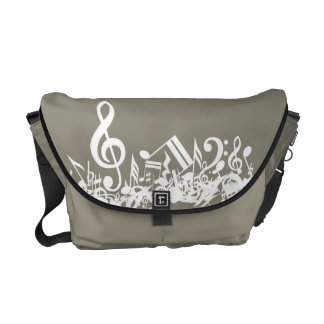 Jumbled Musical Notes Beige and White Courier Bag