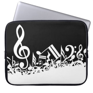 Jumbled Musical Notes Black and White Laptop Computer Sleeve