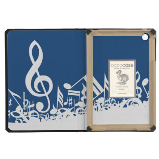 Jumbled Musical Notes Blue and White iPad Mini Cover