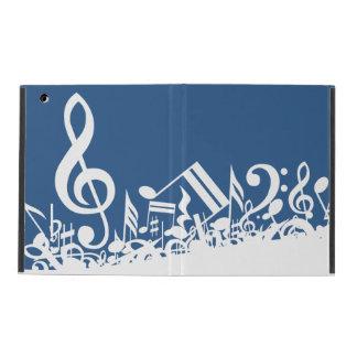 Jumbled Musical Notes Blue and White iPad Folio Case