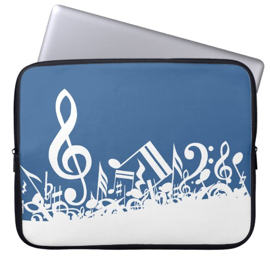 Jumbled Musical Notes Blue and White Laptop Sleeve