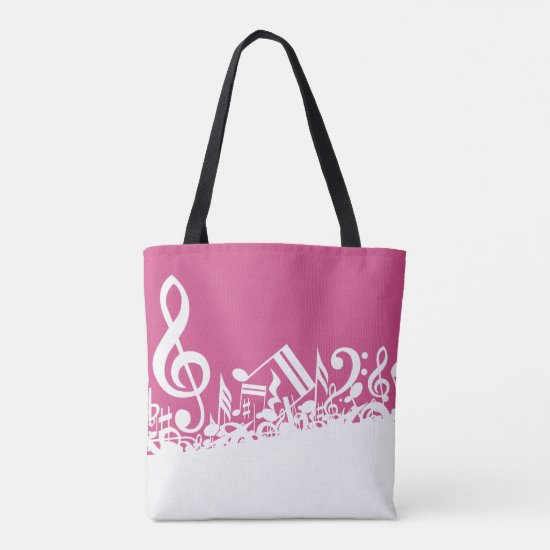 Jumbled Musical Notes Hot Pink and White Tote Bag
