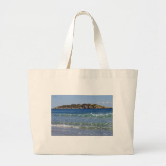 Jumbo Beach Bag, Photo of Ocean and an Island Large Tote Bag
