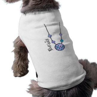 Jumbo Bead Necklace Blue-001 Doggie Tee Shirt