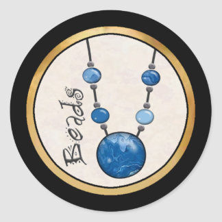 Jumbo Bead Necklace   Blue-002 Classic Round Sticker