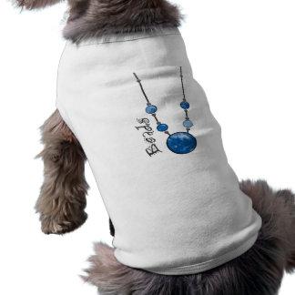 Jumbo Bead Necklace Blue-002 Dog Tee Shirt