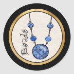Jumbo Bead Necklace   Blue-004 Classic Round Sticker